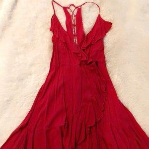 H&M Red Ruffle Dress
